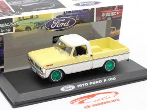 Ford F-100 Pick-Up year 1970 yellow / white / green rims 1:43 Greenlight