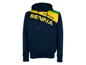 Ayrton Senna Moletom com capuz Racing II azul escuro / amarelo / verde