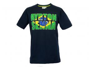 Ayrton Senna T-Shirt Brazil mørkeblå