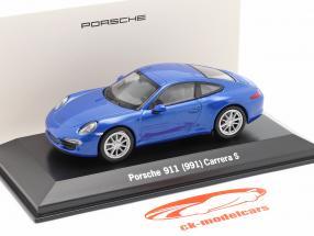 Porsche 911 (991) Carrera S blauw metalen 1:43 Welly