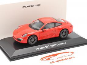 Porsche 911 (991) Carrera S lava laranja 1:43 Welly