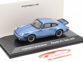 Porsche 911 Turbo ano 1974 azul metálico 1:43 Welly