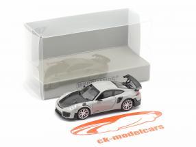 Porsche 911 GT2 RS Byggeår 2018 Grå / kulstof 1:87 Minichamps