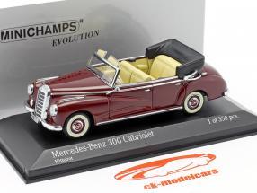 Mercedes-Benz 300 Cabriolet (W186) jaar 1952 Medium rood 1:43 Minichamps