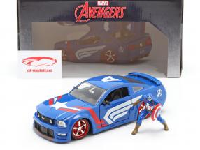 Ford Mustang GT 2006 with Figure Captain America Marvel Avengers 1:24 Jada Toys