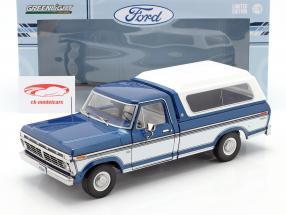 Ford F-100 Pick-Up Anno di costruzione 1976 Con copertina blu / bianca 1:18 Greenlight