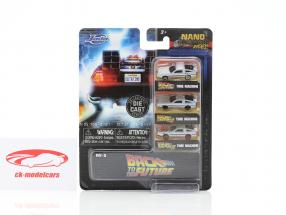 3-Car Set DeLorean Time Machine Back to the Future sølv 1:87 Jada Toys