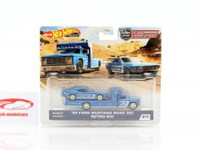 Set Team Transport: Ford Mustang Boss 302 1969 & Retro Rig 1:64 HotWheels