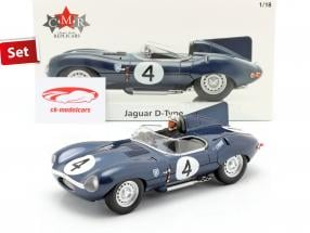 Sæt: Jaguar D-Type #4 Vinder 24h LeMans 1956 Med Driverfigur 1:18 CMR