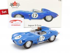 Set: Jaguar D-Type #17 3ro 24h LeMans 1957 Con Figura del conductor 1:18 CMR
