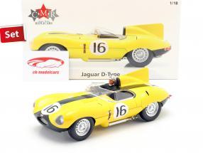 Set: Jaguar D-Type #16 4th 24h LeMans 1957 with driver figure 1:18 CMR