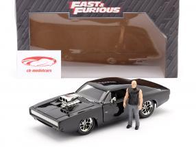Dom's Dodge Charger R/T 1970 película Fast & Furious (2001) con figura 1:24 Jada Toys