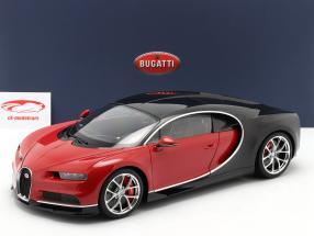 Bugatti Chiron Année de construction 2017 rouge / noir 1:12 AUTOart