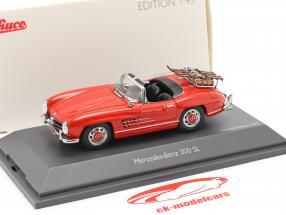 Mercedes-Benz 300 SL Roadster (W198) Skivakantie Bouwjaar 1957-1963 rood 1:43 Schuco