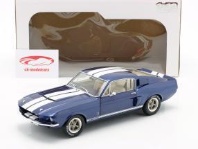 Ford Shelby Mustang GT 500 Bouwjaar 1967 blauw metalen / Wit 1:18 Solido