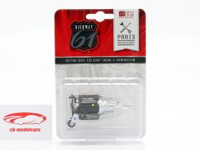 Custom Crate 392 Hemi Engine and Transmission black / silver 1:18 Highway61