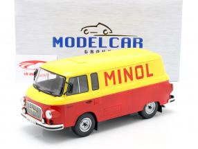 Barkas B 1000 Kastenwagen Minol yellow / red 1:18 Model Car Group