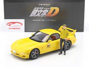 Mazda RX-7 FD3S Film New Initial D Avec figure Jaune 1:18 Kyosho