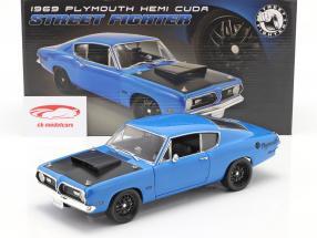 Plymouth Hemi Cuda Street Fighter year 1969 blue 1:18 GMP