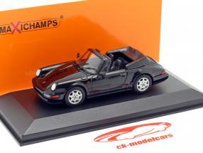 Porsche 911 Carrera 4 Cabriolet jaar 1990 zwart 1:43 Minichamps