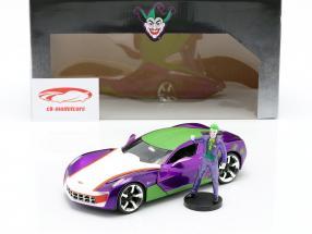 Chevrolet Corvette Stingray 2009 Con figura The Joker DC Comics 1:24 Jada Toys