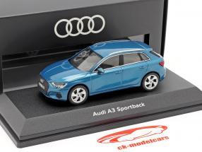 Audi A3 Sportback Byggeår 2020 atoll blå 1:43 iScale