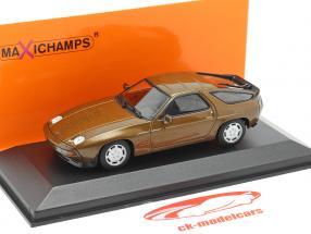Porsche 928 S jaar 1979 bruin metalen 1:43 Minichamps