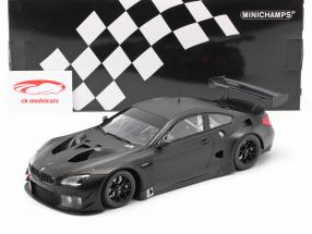 BMW M6 GT3 Plain Body Version Byggeår 2016 måtte sort 1:18 Minichamps