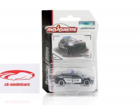 Porsche Panamera Turbo polícia Preto / prata 1:64 Majorette