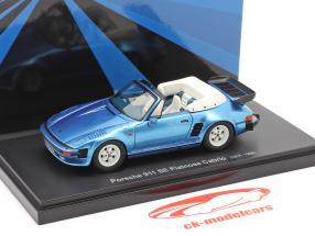 Porsche 911 SE Flatnose Cabrio Bouwjaar 1988 blauw metalen 1:43 AutoCult