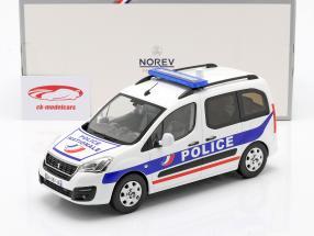 Peugeot Partner Police Nationale Byggeår 2017 hvid / blå 1:18 Norev