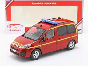 Citroen Berlingo Brandvæsen Byggeår 2017 rød / gul 1:18 Norev