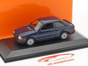Ford Escort ano de construção 1981 azul escuro 1:43 Minichamps