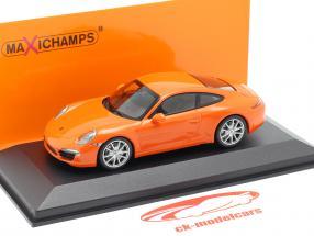 Porsche 911 (991) Carrera S year 2012 orange 1:43 Minichamps
