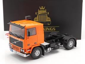 Volvo F10 Lastbil Deutrans Byggeår 1977 orange / sort 1:18 Road Kings