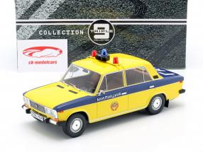 Lada 2106 polícia URSS Ano de construção 1976 amarelo / azul escuro 1:18 Triple9