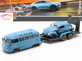 3-Car Set Volkswagen VW Samba Bus Com Reboque e VW Besouro 1:24 Maisto