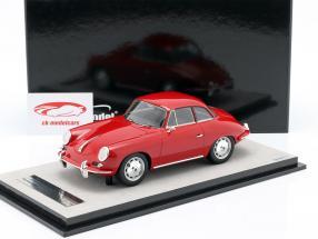 Porsche 356 Karmann Svært top år 1961 glans rød 1:18 Tecnomodel