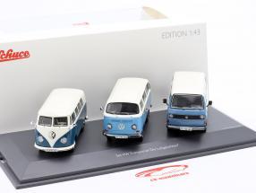 3-Car Set Volkswagen VW Transporter Die Luftgekühlten blau / weiß 1:43 Schuco