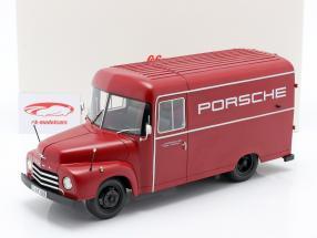 Opel Blitz 1,75t Porsche Byggeår 1952-1960 rød 1:18 Schuco