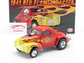 Willys Gasser Año de construcción 1941 rojo con llamas 1:18 GMP