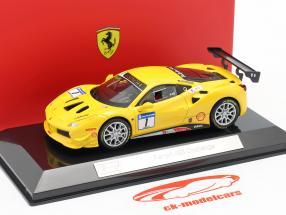 Ferrari 488 Challenge #1 geel 1:43 Bburago