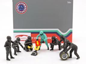 formula 1 Pit equipaggio personaggi Set #1 squadra nero 1:18 American Diorama