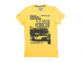 Porsche T-shirt 1-2-3 til Porsche Verdensmester 1969-1971 Adidas gul