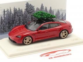Porsche Taycan Turbo S carminio rosso Con albero di Natale 1:43 Minichamps