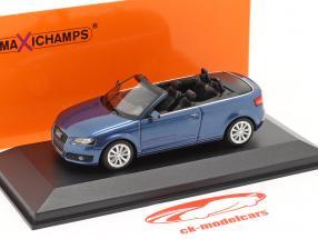 Audi A3 Cabriolé Año de construcción 2007 azul metálico 1:43 Minichamps