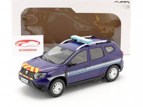 Dacia Duster MK2 Gendarmeri Byggeår 2018 blå 1:18 Solido