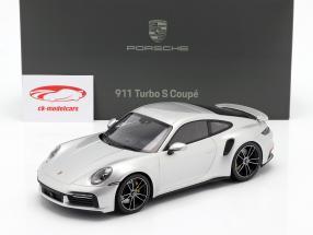 Porsche 911 (992) Turbo S Bouwjaar 2020 GT zilver metalen 1:18 Minichamps
