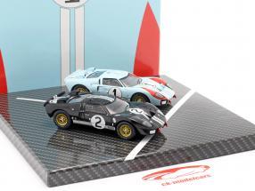 2-Car Set Ford GT40 MK II #2 #1 优胜者 和 第二名 24h LeMans 1966 1:43 CMR