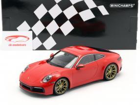 Porsche 911 (992) Carrera 4S year 2019 guards red 1:18 Minichamps